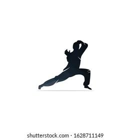 Karate sports logo. martial art silhouette vector, fight sport logo design.
