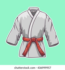 Karate suit icon. Cartoon vector illustration.
