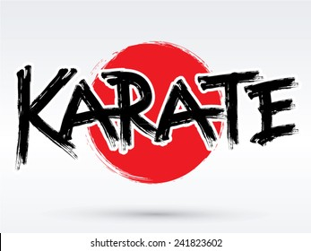 Karate text, brush, graphic vector.