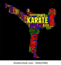 karate Typography word cloud colorful Vector illustration