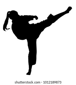 Karate woman fighter in kimono, vector silhouette illustration. Japan traditional martial art. Girl in self-defense presentation. In healthy body healthy mind. Karate mom.
