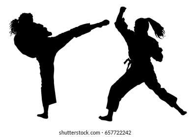 Karate woman fighters in kimono, vector silhouette illustration. Judo fighters ladies battle. Japan traditional martial art. Self-defense presentation. In healthy body healthy mind.