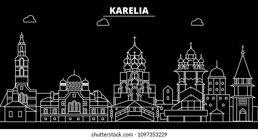 Karelia silhouette skyline. Russia - Karelia vector city, russian linear architecture, buildings. Karelia travel illustration, outline landmarks. Russia flat icon, russian line banner