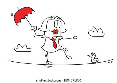 Karen, la femme d'affaires s'équilibre sur une corde. C'est une métaphore de l'agilité des gens.