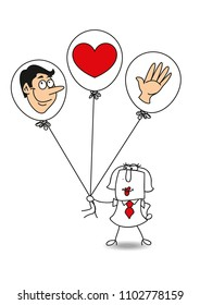 Karen have three balloons with a hand, a head and a heart. It is a metaphor of expertise, knowledge, behaviour.