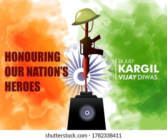Kargil Vijay Diwas, banner or poster. Vector illustration of Poster for salute indian army, amar jawan jyoti - background
