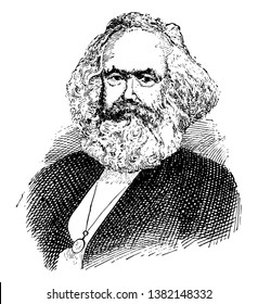 Karl Marx, 1818-1883, he was a German philosopher, economist, political theorist, sociologist, journalist and revolutionary socialist, vintage line drawing or engraving illustration