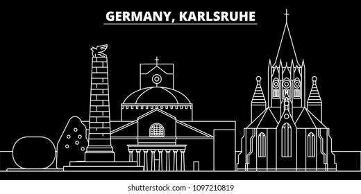 Karlsruhe silhouette skyline. Germany - Karlsruhe vector city, german linear architecture, buildings. Karlsruhe travel illustration, outline landmarks. Germany flat icons, german line banner