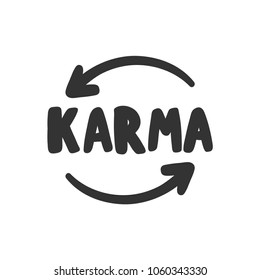 Karma. Arrows. Sticker vector for social media post. Hand drawn illustration design. Bubble pop art comics style. Good as poster, t shirt print, card, wallpaper, video or blog cover