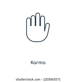 Karma concept line icon. Linear Karma concept outline symbol design. This simple element illustration can be used for web and mobile UI/UX.