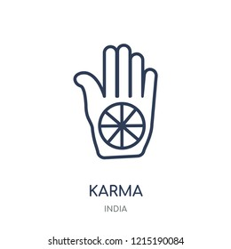 Karma icon. Karma linear symbol design from India collection. Simple outline element vector illustration on white background.