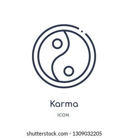 karma icon from religion outline collection. Thin line karma icon isolated on white background.