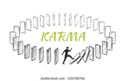 Karma - lifestyle concept sketch. A man pushes a domino that is built in a circle. Vector hand drawn illustration.