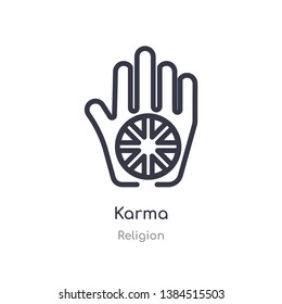 karma outline icon. isolated line vector illustration from religion collection. editable thin stroke karma icon on white background
