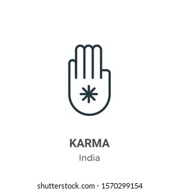 Karma outline vector icon. Thin line black karma icon, flat vector simple element illustration from editable india concept isolated on white background