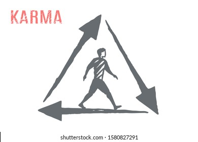 Karma - vector religion concept sketch, hand drawn illustration. A man walks inside the triangle of arrows.