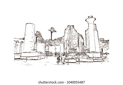 The Karnak Temple Complex, commonly known as Karnak, comprises a vast mix of decayed temples, chapels, pylons, and other buildings in Egypt. Hand drawn sketch illustration in vector.