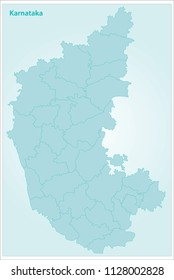 Karnataka Map with Districts Outline in Blue color
