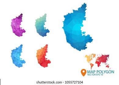 Karnataka Map - Set of geometric rumpled triangular low poly style gradient graphic background , Map world polygonal design for your . Vector illustration eps 10.