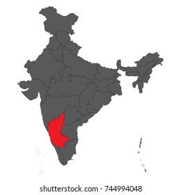 Karnataka red on gray India map vector