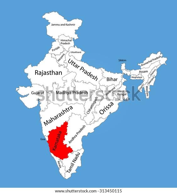 Karnataka State India Vector Map Silhouette Stock Vector ... on map of delhi, map of rajasthan, map of haryana, map of bangalore, map of kashmir, map of mysore, map of yunnan province, map of hubei province, map of gujarat, map of andhra pradesh, map of orissa, map of nunatsiavut, map of mumbai, map of uttar pradesh, map of maharashtra, map of arunachal pradesh, map of india, map of west bengal, map of kerala, map of madhya pradesh,