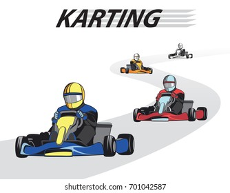 Kart competition / Karting, Competition, Championship, Winner. Flat design, vector illustration