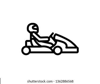 Kart with driver in helmet. Auto racing, motorsports,automobile concept. Open-wheel motorsport car, go-kart icon. Vector illustration eps10 on white background. For your design and business. - Vector