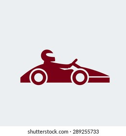 Kart with driver in helmet. Auto racing, motorsports, automobile concept. Open-wheel motorsport car, go-kart icon. Vector illustration eps 8 on grey background. For your design and business.