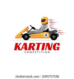 Kart driver sport logo icon. Karting racing isolated, Man drive kart in helmet background design.
