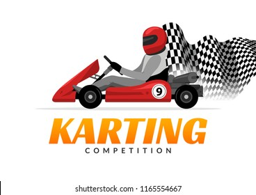 Kart driver sport logo icon. Karting racing isolated, Man drive kart in helmet background design.