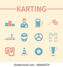 Kart racing, karting, driver equipment. Flat icon set. Vector illustration.