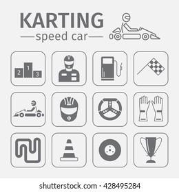 Kart racing, karting, motorsport, kart, superkart, go-kart, gearbox kart, shifter kart, driver equipment. Thin line icon set. Vector illustration.