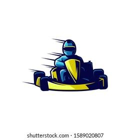 kart racing logo illustration and gaming logo