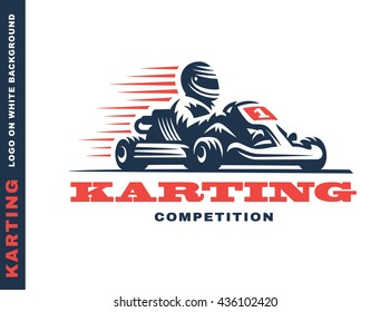 Kart racing winner, logo illustration on a white background