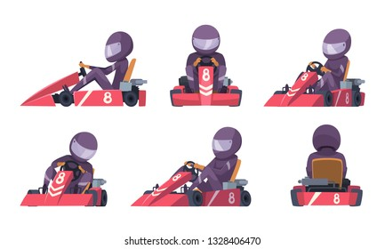 Karting car. Street speed racers competition sport automobile go kart vector background cartoon