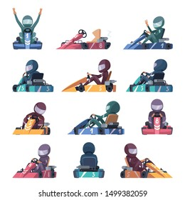 Karting cars. Fast racers speed karting machines on road vector cartoon illustrations