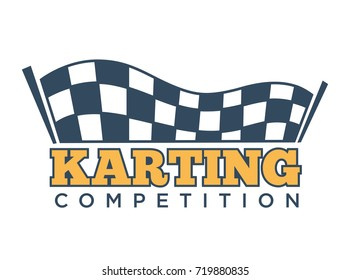 Karting club or kart races sport competition vector template icon