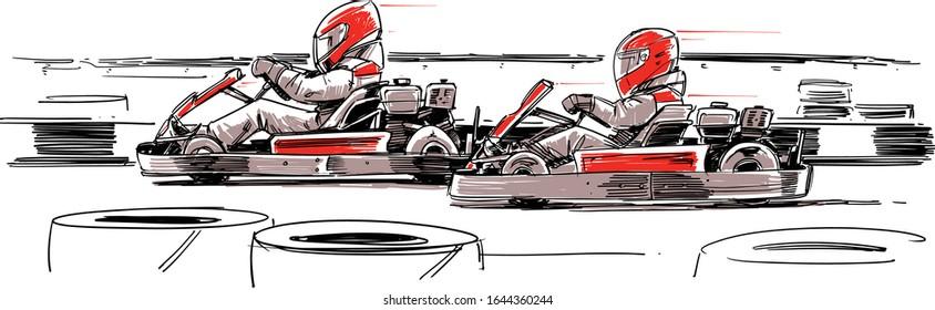 Karting competition. Go-Kart Racers. Vector Illustration