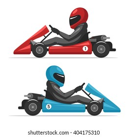 Karting go. Racing on sport kart driver man in helmet. Auto racing red and blue Go-kart. Vector cartoon illustration isolated on white background for web design banner and print