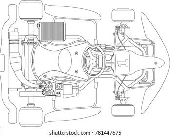 Karting. Go-kart outline