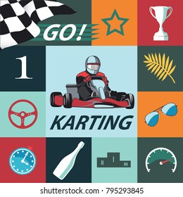 Karting Infographic set. Flat design, colored sports set with Kart, icons, racer and others vector elements, vector