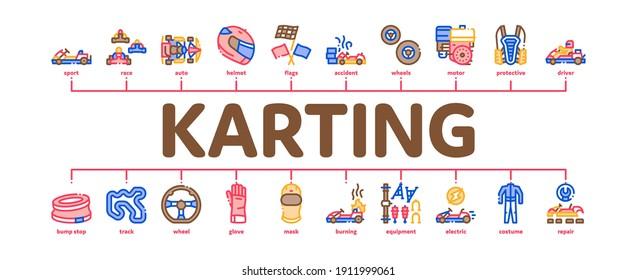 Karting Motorsport Minimal Infographic Web Banner Vector. Karting Race And Track, Kart Engine And Steering Wheel, Driver Helmet And Suit Gloves And Mask Color Illustration