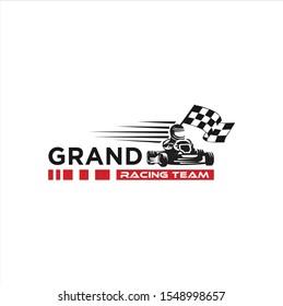 Karting race symbol logo,emblem template vector image . Go kart logo Vector . Kart driver sport logo icon.Man drive kart in helmet background design