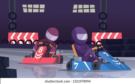 Karting sport competition. Racers in helmet in fast cars on speed track vector cartoon background