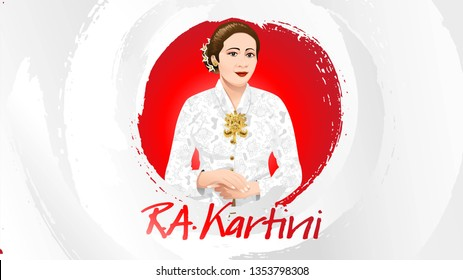 Kartini Day, R A Kartini the heroes of women and human right in Indonesia. banner template design background - Vector