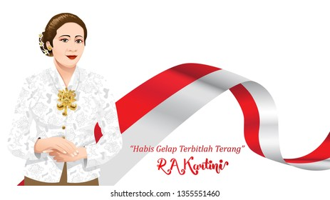 Kartini Day, R A Kartini the heroes of women and human right in Indonesia. banner template design background. - Translation of text : Out of dark comes light. - Vector