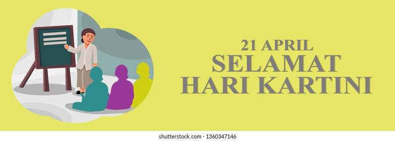 Kartini Day, R A Kartini the heroes of women education and human right in Indonesia Vector Illustration. Suitable for greeting card, poster and banner.