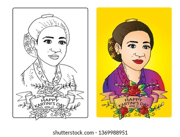 Kartini's Day coloring page. Kartini Day, R A Kartini the heroes of women and human right in Indonesia. 21 April.