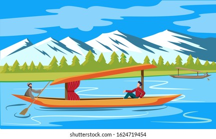 kashmir tourism dal lake with boat landscape vector illustration
