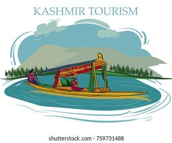 kashmir tourism vector illustration